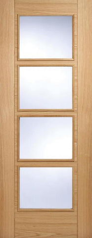 Lpd Internal Oak Vancouver 4 Light Clear Glazed Fire Door - Internal Doors