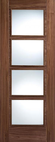 Lpd Internal Walnut Vancouver 4 Light Clear Glazed Door - Internal Doors