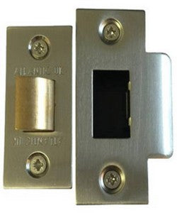 "Atlantic Handles 3"" Heavy Duty Bolt Through Tubular Latch in a Satin Nickel & Polished Gold Finish - MODA Doors"