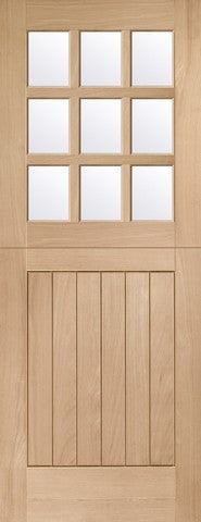 Xl Joinery External Oak Mortice & Tenon Double Glazed Stable 9 Light With Clear Glass Door - External Doors