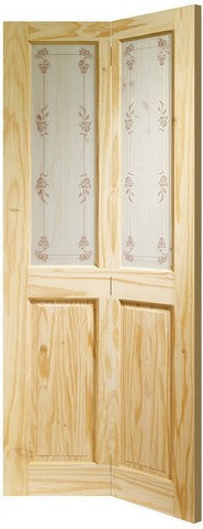 Xl Joinery Internal Knotty Pine Victorian Bi-Fold With Bluebell Glass Door - Internal Doors