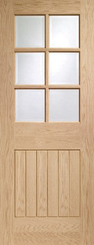 Xl Joinery Internal Oak Suffolk 6 Light With Clear Bevelled Glass Door - Internal Doors