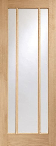 Xl Joinery Internal Oak Worcester 3 Light With Clear Glass Fire Door - Internal Doors
