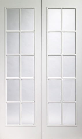 Xl Joinery Internal Pre Finished White Moulded Portobello Pair With Clear Glass Door - Internal Doors