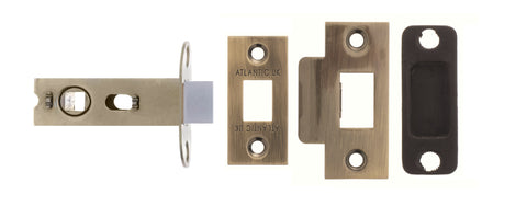 Atlantic Handles 2.5 Bolt Through Tubular Latch - Various Finishes - Antique Brass Plated - Door Locks & Latches