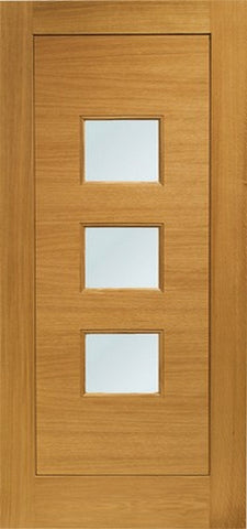Xl Joinery Pre-Finished External Oak Double Obscure Glazed Turin Door Set - External Doors