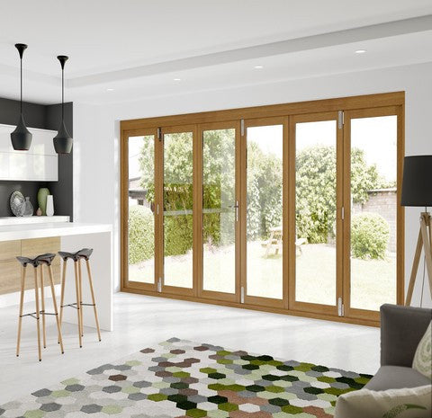 Xl Joinery External Pre-Finished Oak La Porte Vista 6 Door Bi-Fold System - External Doors