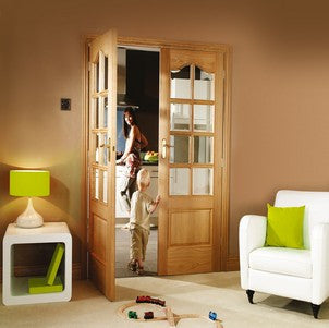 Xl Joinery Internal Oak Park Lane Door Pair With Clear Bevelled Glass - Internal Doors