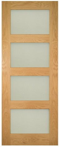 Deanta Coventry Unfinished Oak Frosted Glazed Door