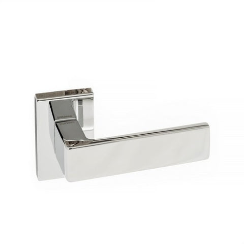 Asti Forme Designer Lever on Minimal Square Rose in a Polished Chrome Finish Pair of Door Handles - MODA Doors