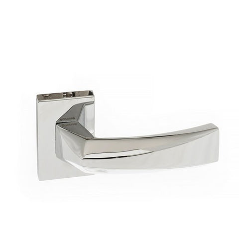 Atlantic Handles Crystal Forme Designer Lever on Minimal Square Rose in a Polished Chrome Finish Pair of Door Handles - MODA Doors