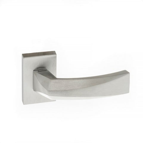 Crystal Forme Designer Lever on Minimal Square Rose in a Satin Chrome Finish Pair of Door Handles - MODA Doors