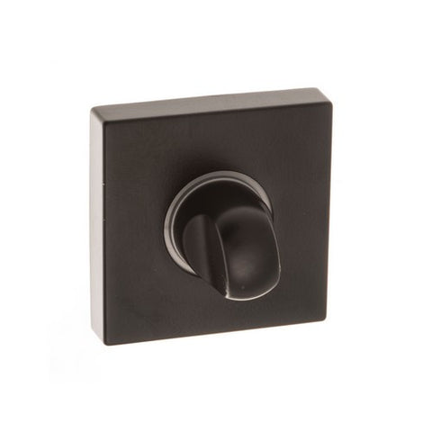 Atlantic Handles Forme WC Turn on Minimal Square Rose in a Matt Black Finish - MODA Doors