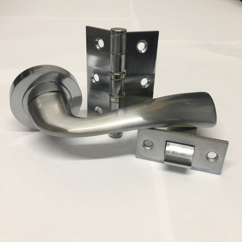 Atlantic Handles Wave Satin Chrome Latch Pack for Internal Doors