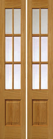 Jb Kind Internal Oak Dove Pairs Unfinished Glazed Door - Internal Doors