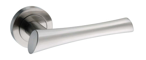 Corsica Mediterranean Lever on Rose in a Satin Nickel Finish Pair of Door Handles - MODA Doors