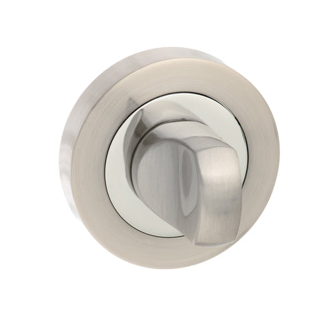 Atlantic Handles Round Rose WC Turn and Release in a Satin Nickel & Polished Chrome Finish - MODA Doors