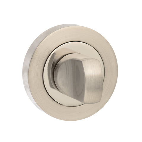 Round Rose WC Turn and Release in a Satin Nickel & Polished Nickel Finish - MODA Doors  - 1