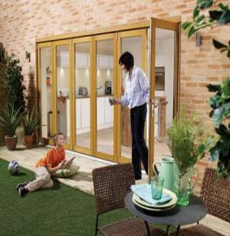Lpd External 2.4M Nuvu (8Ft) Oak Unfinished Bi-Fold Doors With A 3+0 Configuration - External Doors