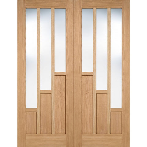 LPD Internal Prefinished Pairs Oak Coventry with Clear Glazed Door