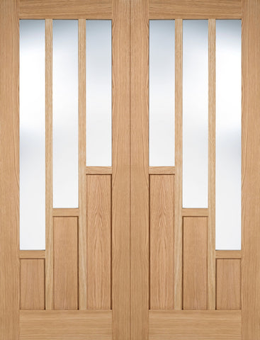 Lpd Internal Pairs Oak Coventry With Clear Glazed Door - Internal Doors