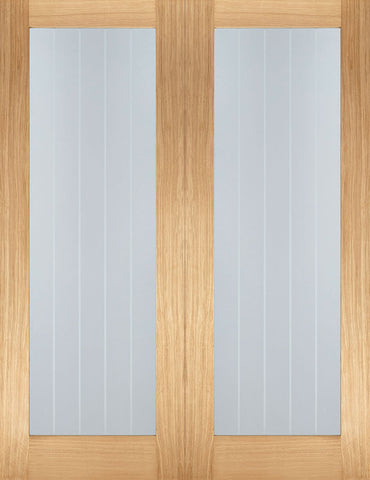 Lpd Internal Oak Mexicano Glazed Door Pair - Internal Doors