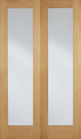 Lpd Internal Pairs Oak Pattern 20 With Clear Glazed Door - Internal Doors