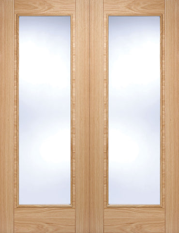 LPD Internal Prefinished Pairs Oak Vancouver with Clear Glazed Door
