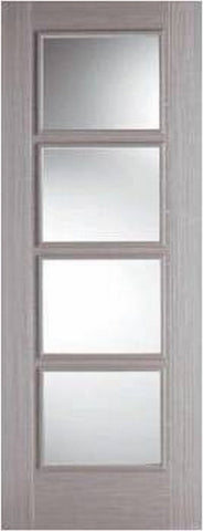 Lpd Internal Light Grey Vancouver 4 Light Clear Glazed Door - Internal Doors
