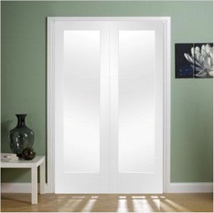 Xl Joinery Internal White Primed Pattern 10 Clear Glass Door Pair - Internal Doors