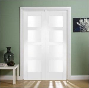 Xl Joinery Internal White Primed Shaker Clear Glass Door Pair - Internal Doors