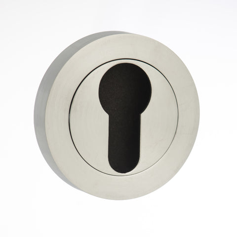 Atlantic Handles Status Round Rose Euro Escutcheon in a Satin Chrome Finish - MODA Doors