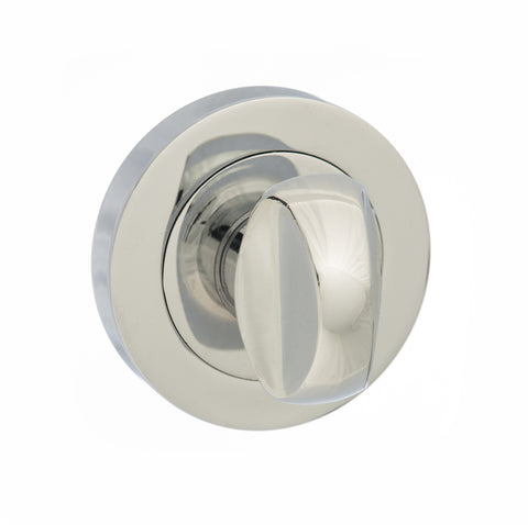 Atlantic Handles Status WC Turn and Release on Round Rose in a Polished Chrome Finish - MODA Doors