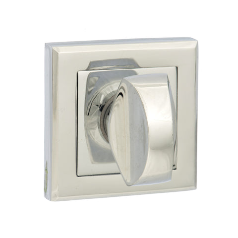 Atlantic Handles Status WC Turn and Release on Square Rose in a Polished Chrome Finish - MODA Doors
