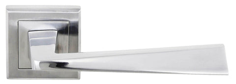 California Status Lever on Square Rose in a Satin Chrome Finish Pair of Door Handles - MODA Doors