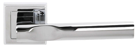 Kansas Status Lever on Square Rose in a Polished Chrome Finish Pair of Door Handles - MODA Doors