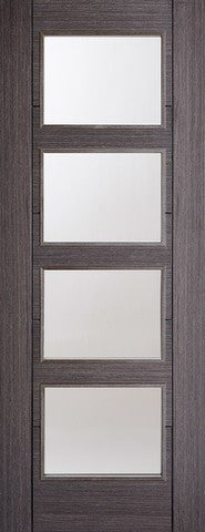 Lpd Internal Ash Grey Vancouver Clear Glazed Door - Internal Doors