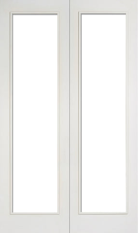Lpd Internal Pairs White Primed Pattern 20 With Clear Glazed Door - Internal Doors