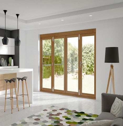 Xl Joinery External Pre-Finished Oak La Porte Vista 4 Door Bi-Fold System - External Doors