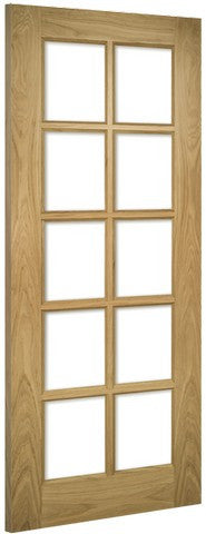 Deanta Doors Internal Bristol Oak Un-Finished Clear Glass Door - MODA Doors