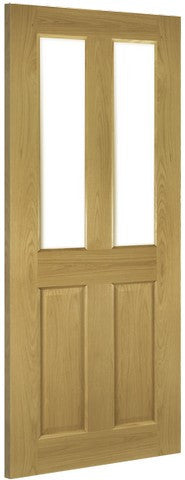 Deanta Doors Internal Bury Oak Pre-Finished Clear Bevelled Glass Door - MODA Doors