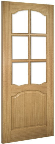 Deanta Doors Internal Louis Oak Un-Finished Clear Bevelled Glass Door - MODA Doors