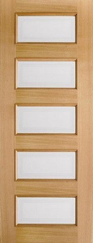 Lpd Internal Oak Contemporary 5 Light Clear Glazed Pre-Finished Door - Internal Doors