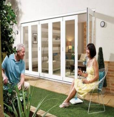 Lpd External 2.4M Nuvu (8Ft) White Pre-Finished Bi-Fold Doors With A 3+0 Configuration - External Doors