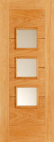 Lpd External Oak Arta 3 Glass 4 Panel 5 Groove Door - External Doors
