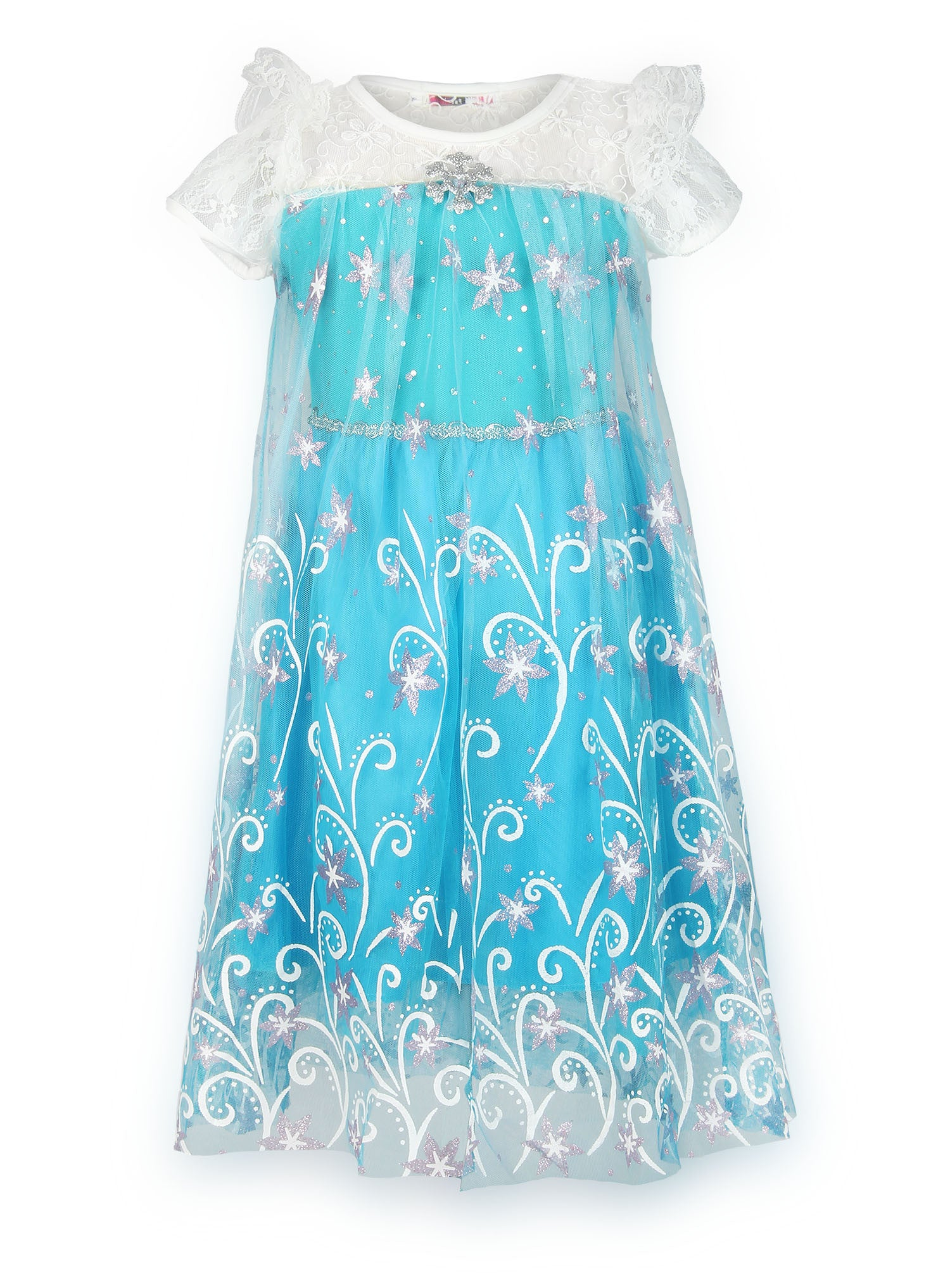 JerrisApparel Little Girls Princess Flower Print Party Dress Blue