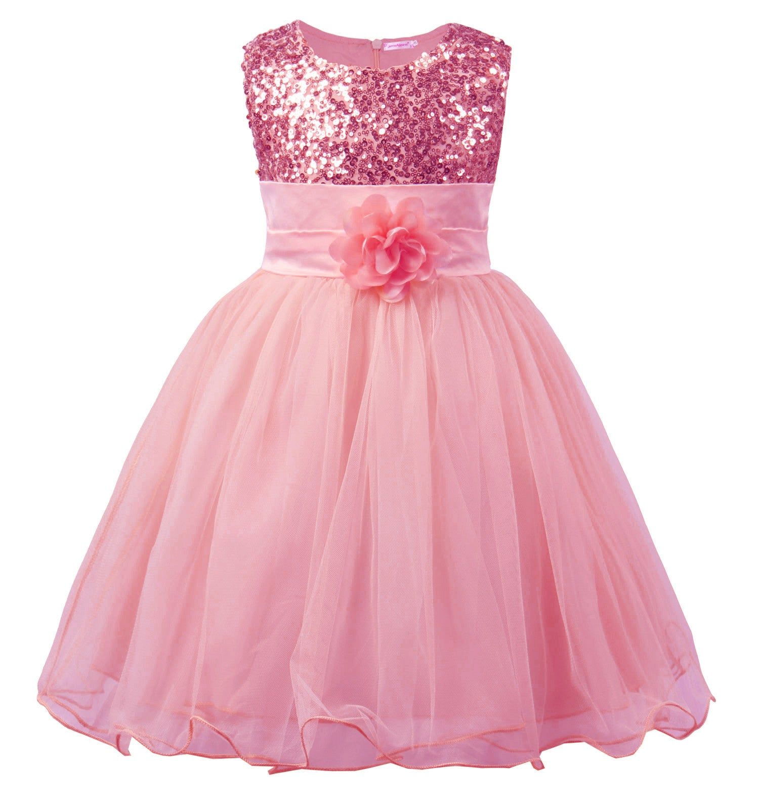 0768333f56d7 Little Girls  Sequin Mesh Flower Ball Gown Party Dress Tulle Prom ...