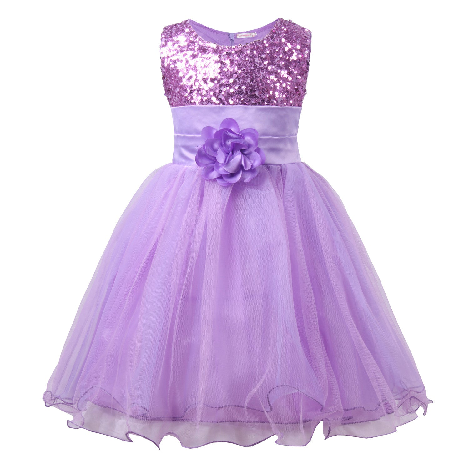 Little Girls Sequin Mesh Flower Ball Gown Party Dress Tulle Prom Purple