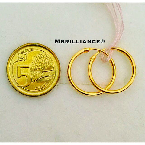 15mm plain loop Earrings 916 Gold Mbrilliance
