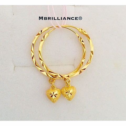 19mm Dangling hearts earrings 916 Gold by Mbrilliance